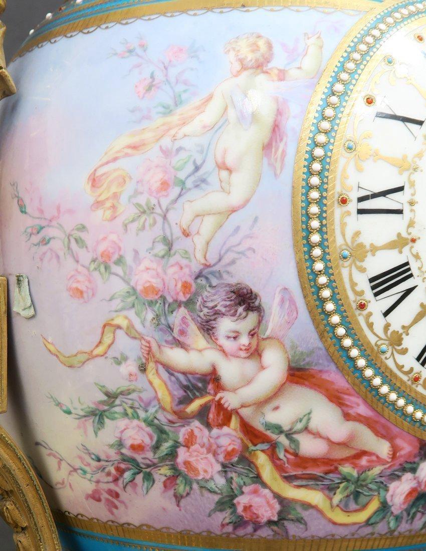 Large French Bronze & Sevres Porcelain Clock Set by Rai - 8