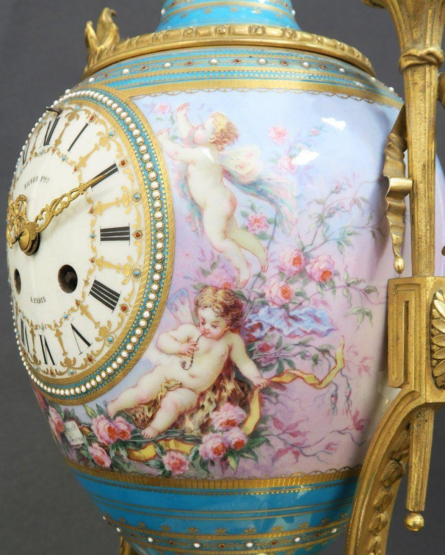 Large French Bronze & Sevres Porcelain Clock Set by Rai - 9