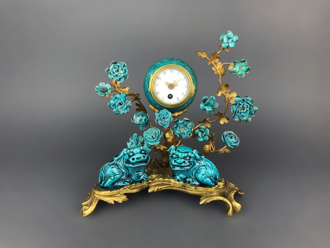 19th C. French Gilt Bronze & Chinese Porcelain Clock