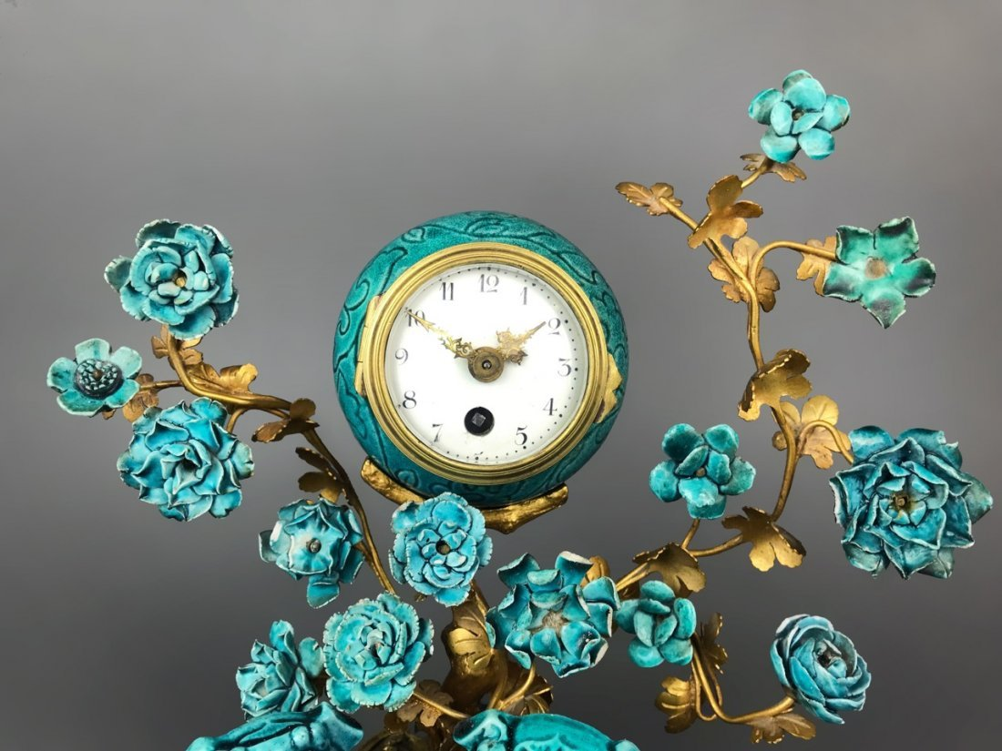 19th C. French Gilt Bronze & Chinese Porcelain Clock - 3