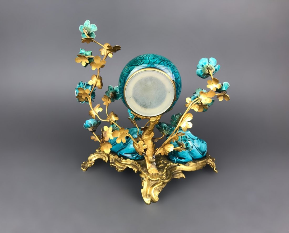 19th C. French Gilt Bronze & Chinese Porcelain Clock - 5