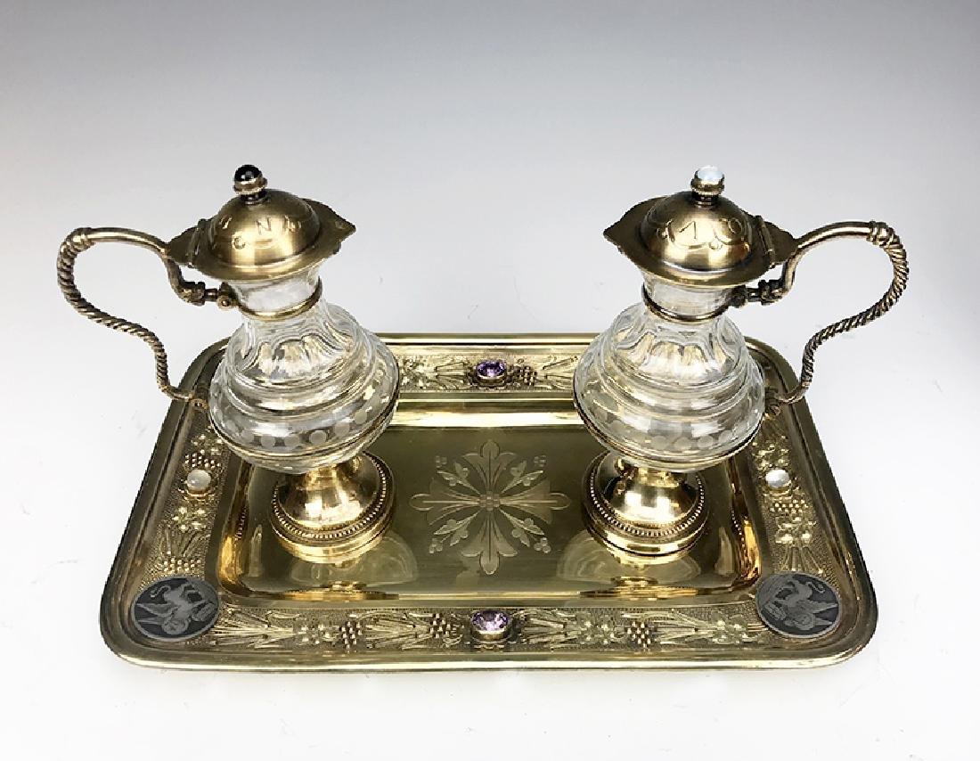 French Jeweled Hand Engraved Gilt Silver Cruet Set