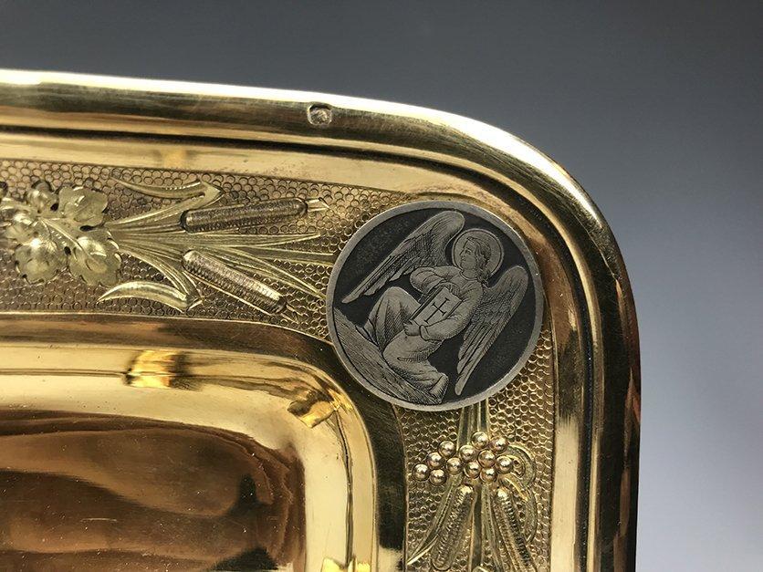 French Jeweled Hand Engraved Gilt Silver Cruet Set - 4