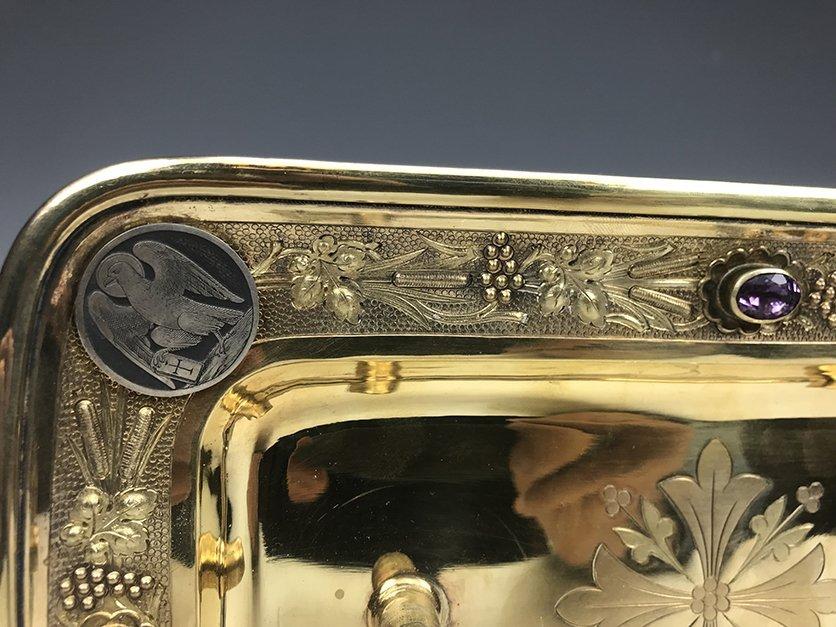 French Jeweled Hand Engraved Gilt Silver Cruet Set - 5