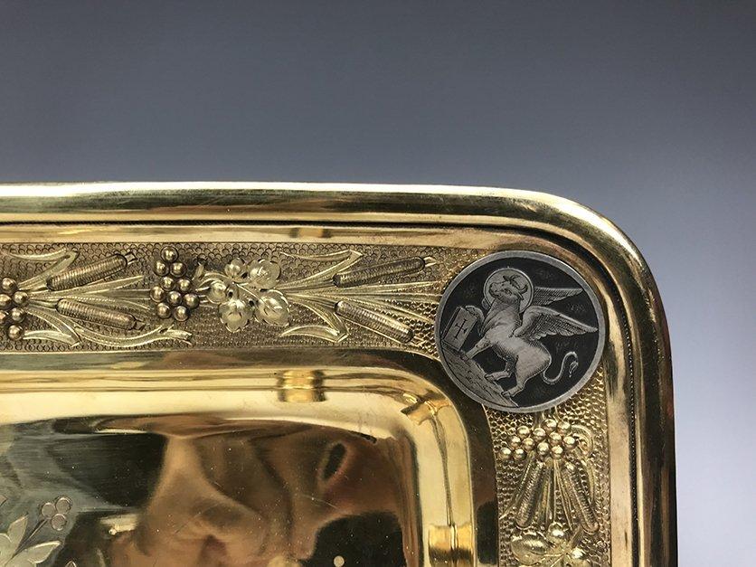 French Jeweled Hand Engraved Gilt Silver Cruet Set - 7