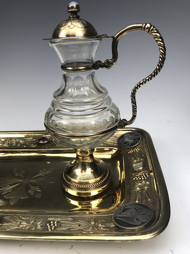 French Jeweled Hand Engraved Gilt Silver Cruet Set - 8
