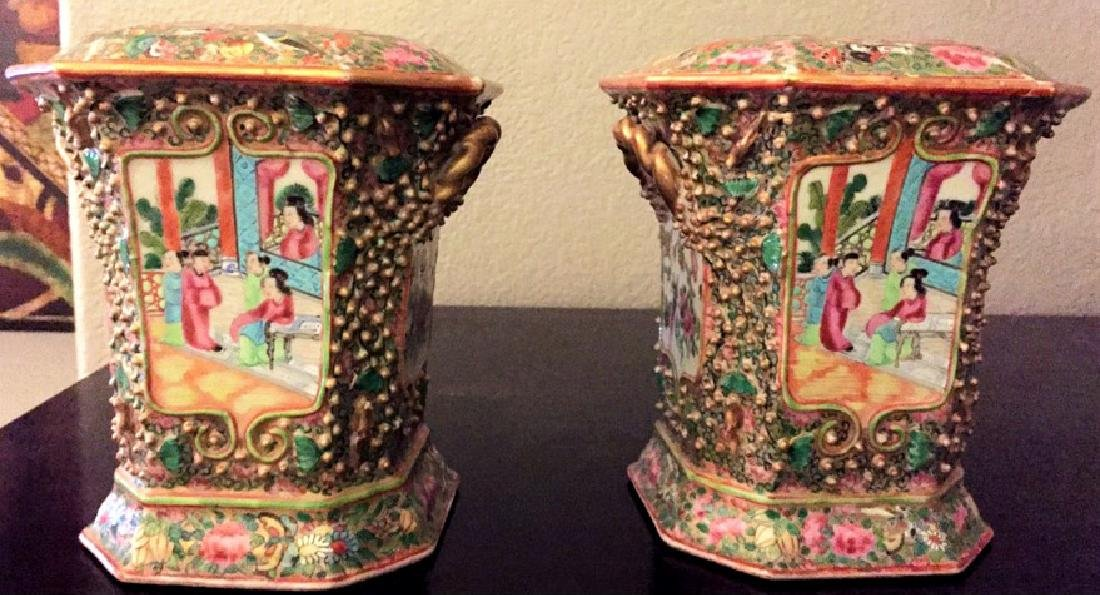 19th C.Rare Pair of Chinese Famille Rose Crocus Pots