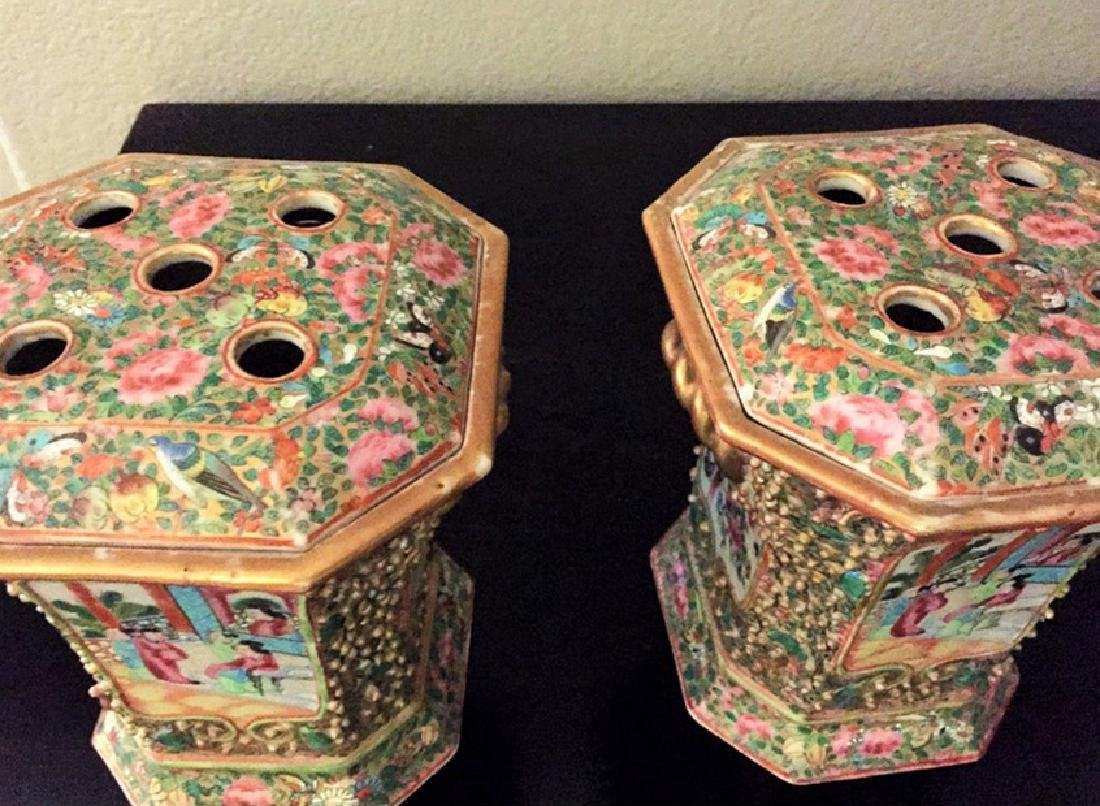19th C.Rare Pair of Chinese Famille Rose Crocus Pots - 2