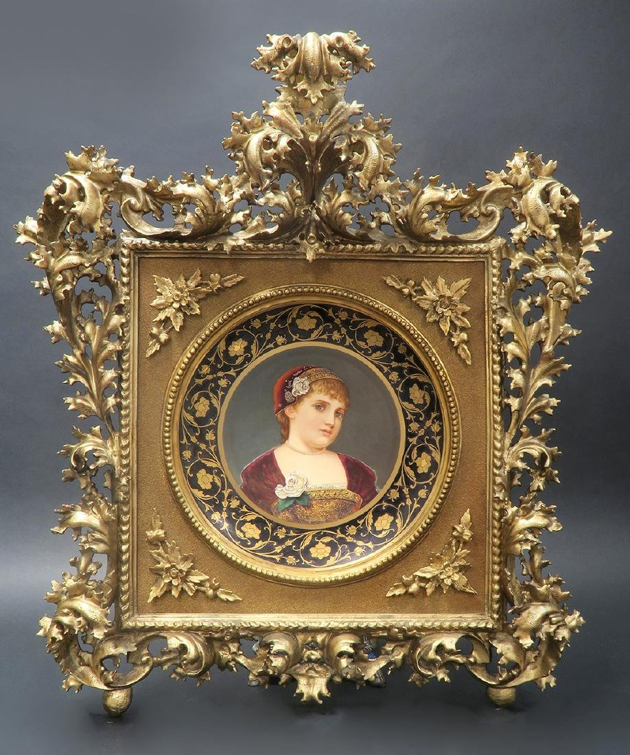 Large 19th C. Royal Vienna Hand Painted Framed Plate