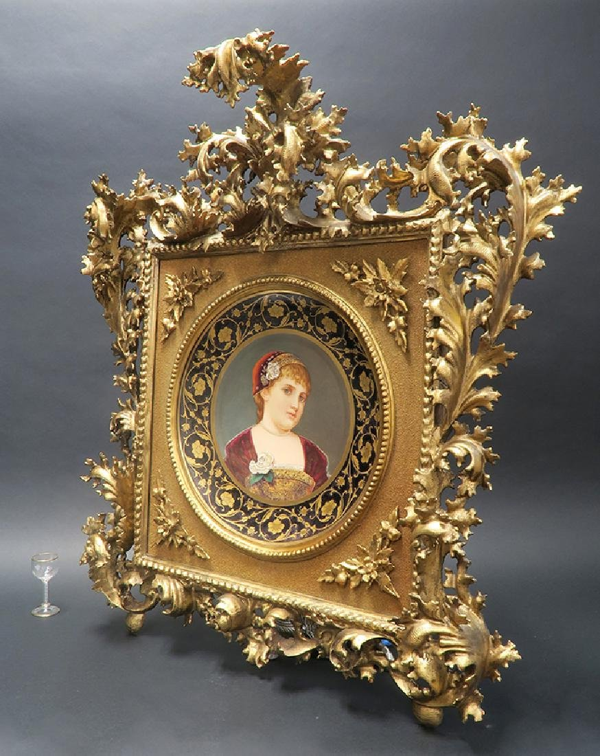 Large 19th C. Royal Vienna Hand Painted Framed Plate - 3