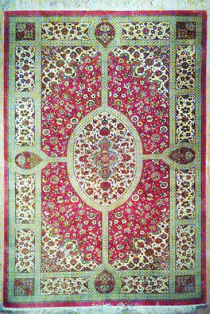 Signed Persian Rug from Qom 100% Silk
