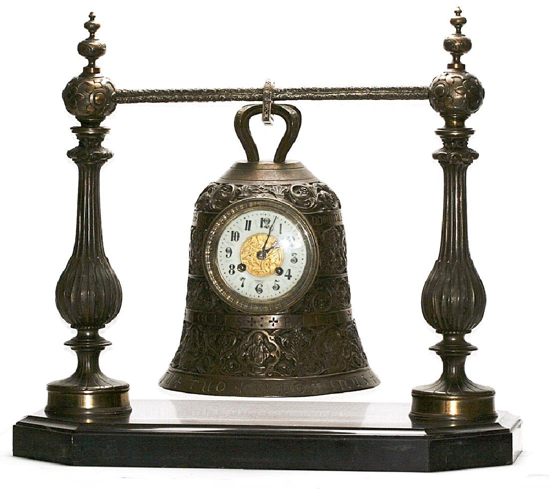 "A ""Tiffany & Co."" Bronze Suspended Bell Clock"