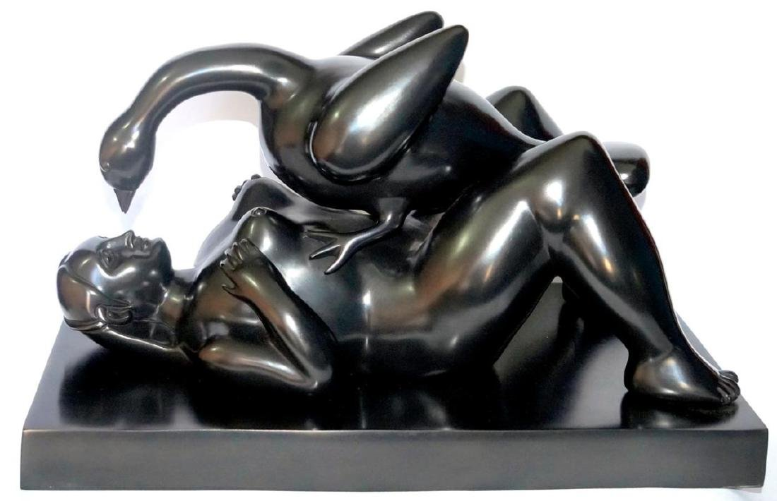 FERNANDO BOTERO Leda and The Swan Bronze Statue, Signed - 5