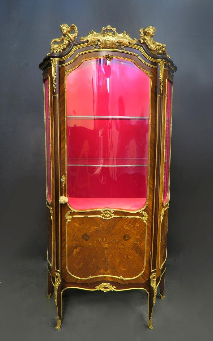 """French Figural Bronze Mounted Vitrine By """"Henry Dasson"""""""
