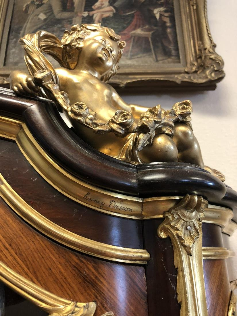 """French Figural Bronze Mounted Vitrine By """"Henry Dasson"""" - 6"""