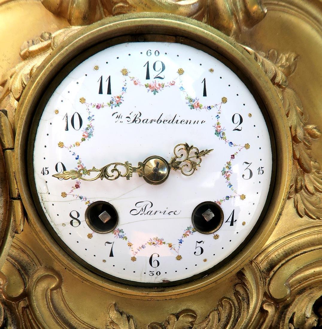 "French ""F. Barbedienne"" Figural Bronze Clock Set - 9"