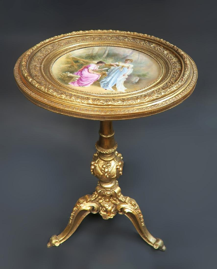 Magnificent Hand Painted Royal Vienna Side Table