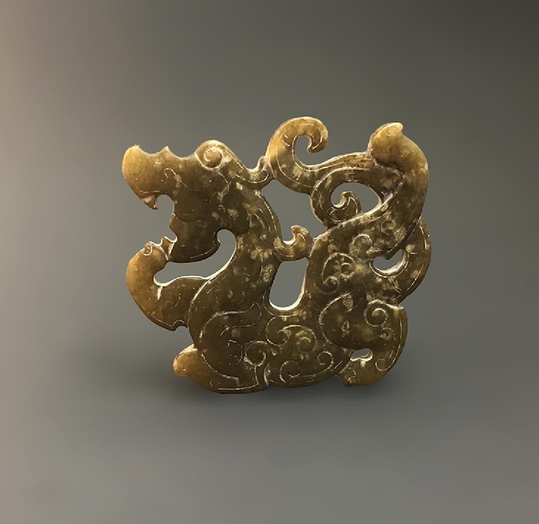 Magnificent Chinese Carved Jade Dragon-form Pendent - 4