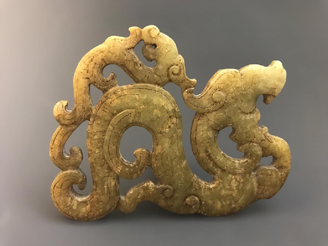 Magnificent Chinese Carved Jade Dragon-form Pendent - 3