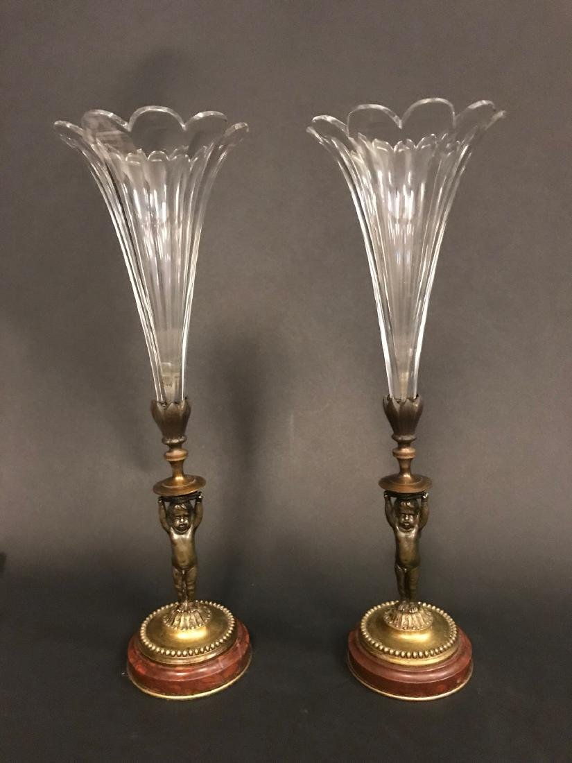 A Pair of 19th C. French Crystal & Bronze Vase