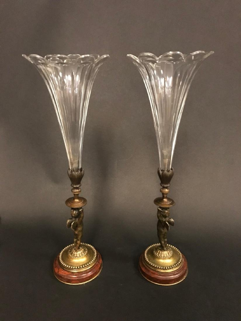 A Pair of 19th C. French Crystal & Bronze Vase - 2