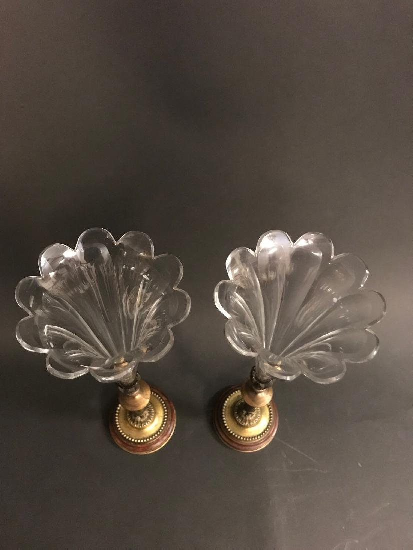 A Pair of 19th C. French Crystal & Bronze Vase - 6