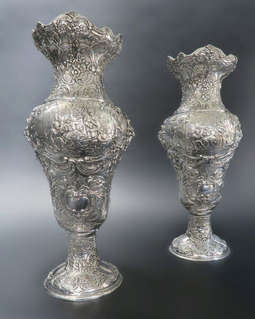 Pair Of Sterling Silver Vase