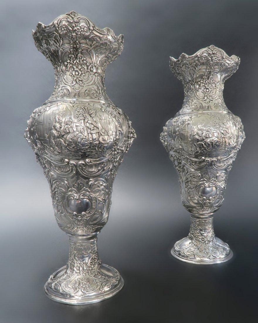 Pair Of Sterling Silver Vase