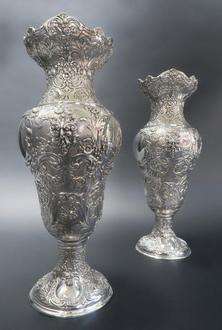 Pair Of Sterling Silver Vase - 2
