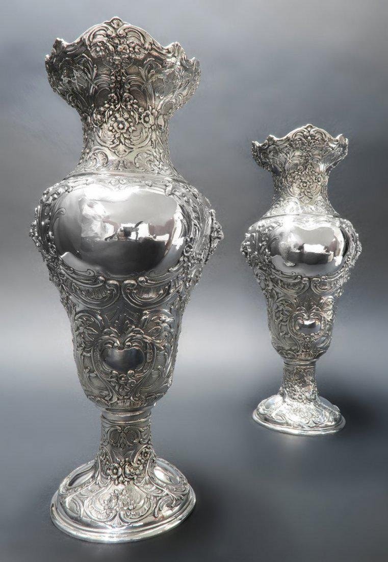 Pair Of Sterling Silver Vase - 3