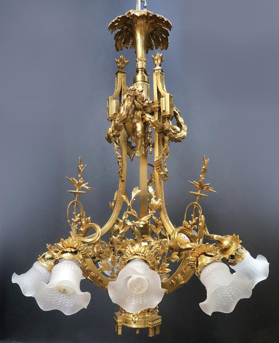 19th C. Large French Figural Bronze Chandelier 8-Light