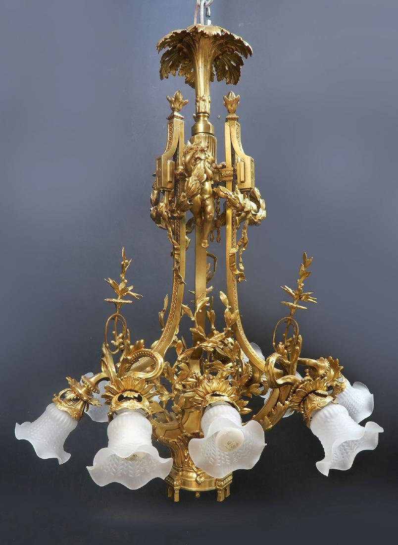 19th C. Large French Figural Bronze Chandelier 8-Light - 2