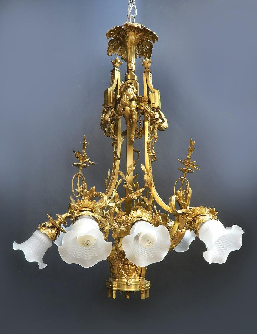 19th C. Large French Figural Bronze Chandelier 8-Light - 3