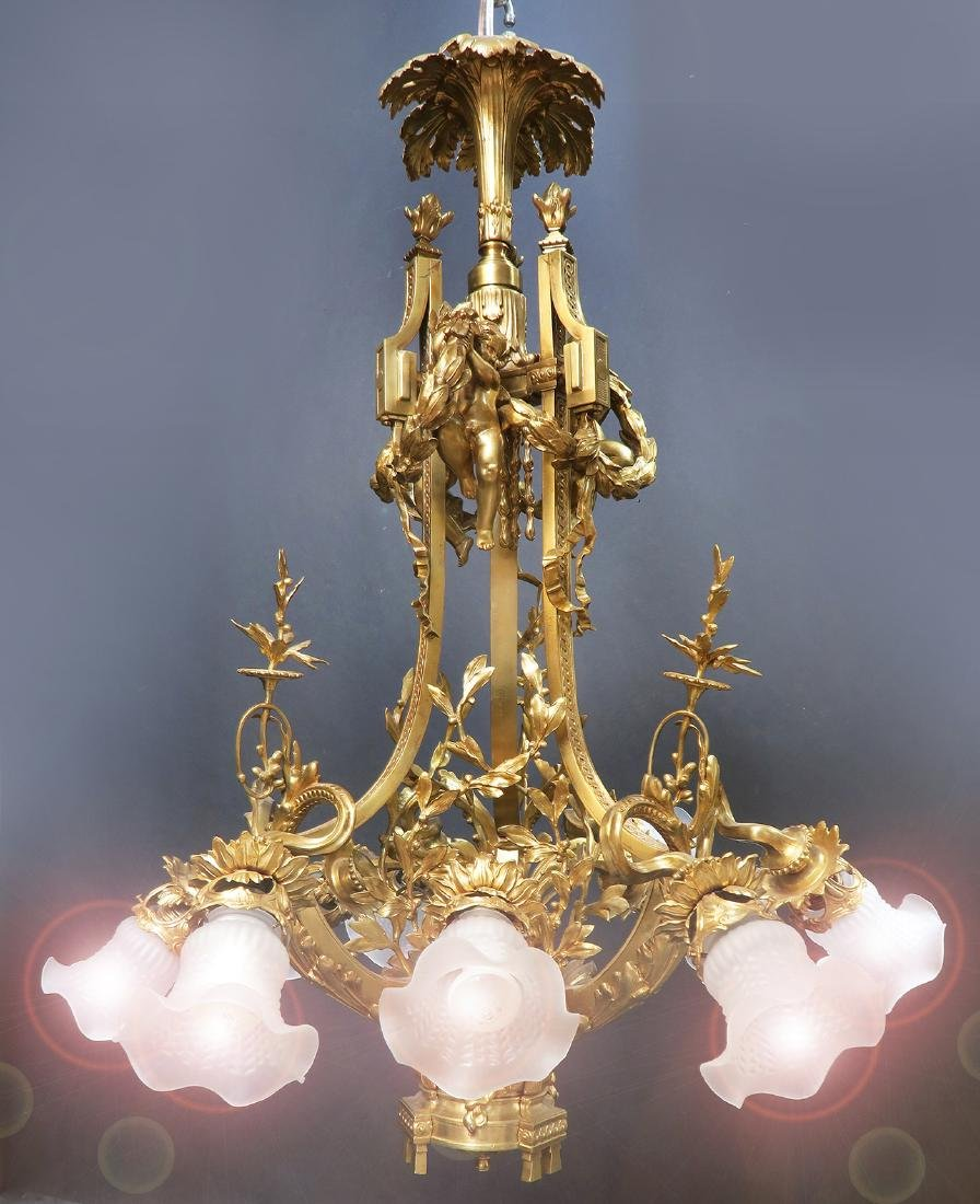 19th C. Large French Figural Bronze Chandelier 8-Light - 4