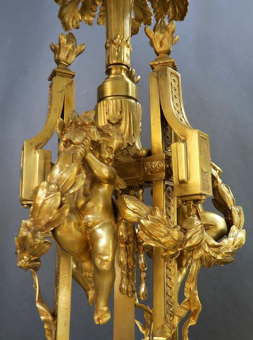 19th C. Large French Figural Bronze Chandelier 8-Light - 5
