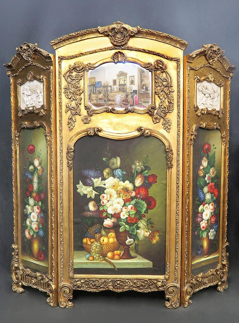 French Hand Painted Flowers Divider Screen