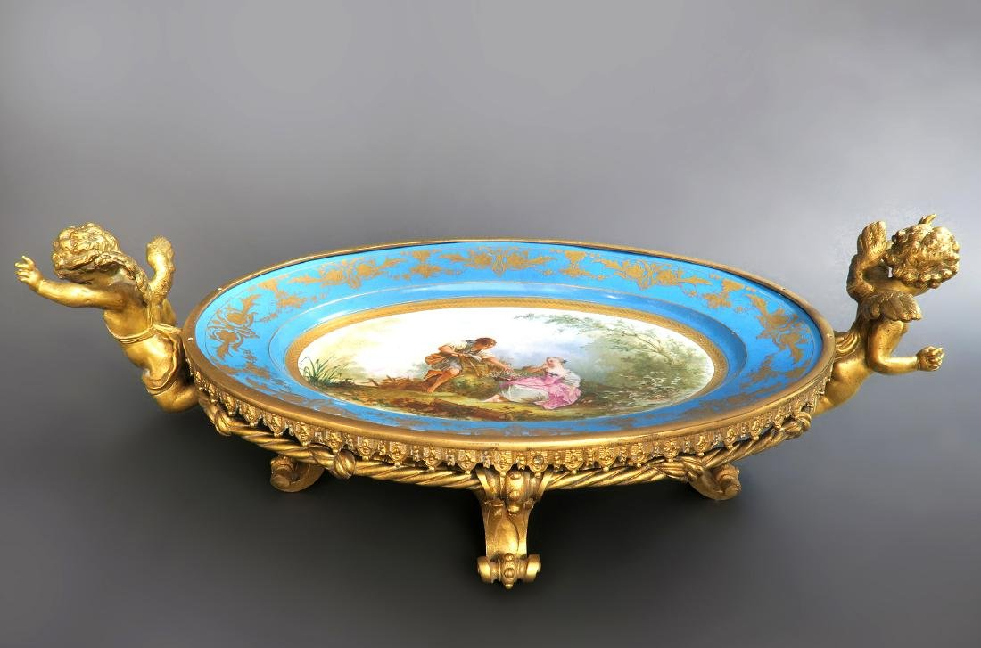 19th C. Bronze Mounted Figural Sevres Centerpiece