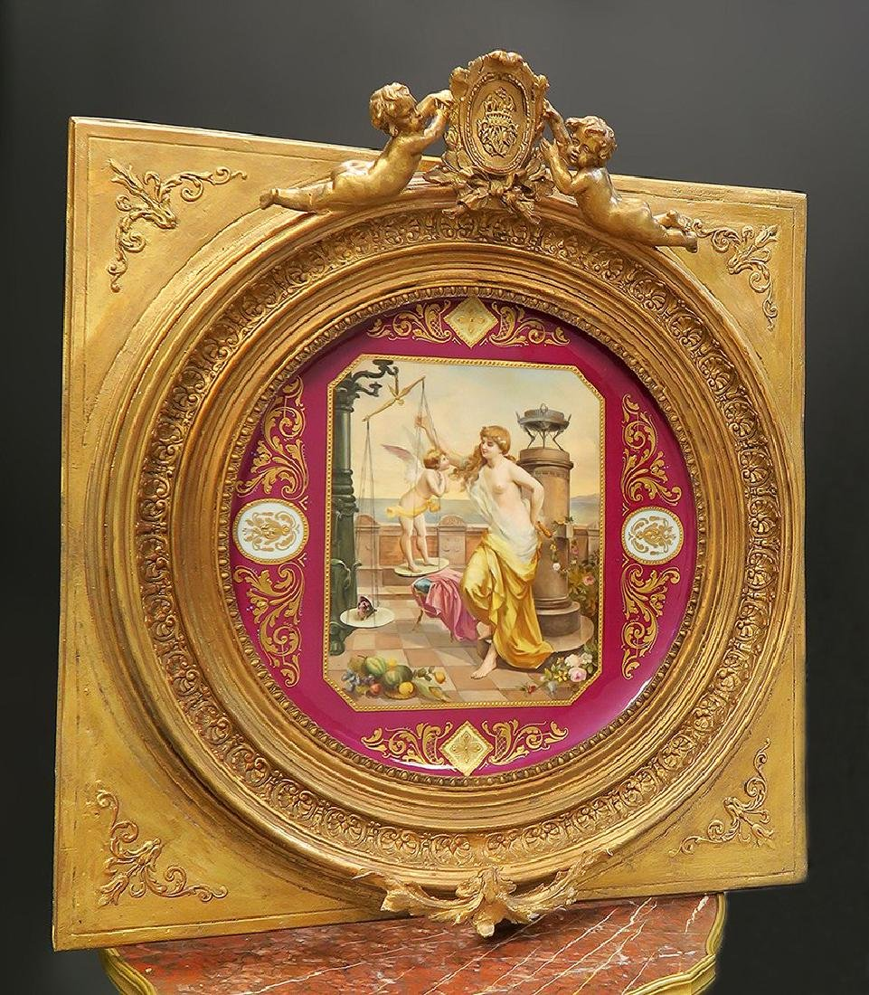 Exceptional Large Framed Royal Vienna Plate, 19th C.