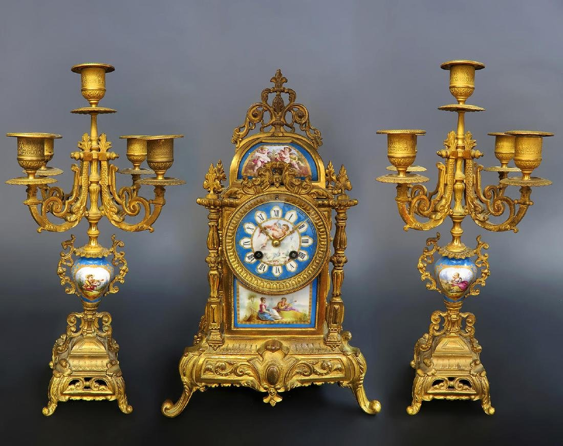 French Bronze & Sevres Porcelain Clock Set