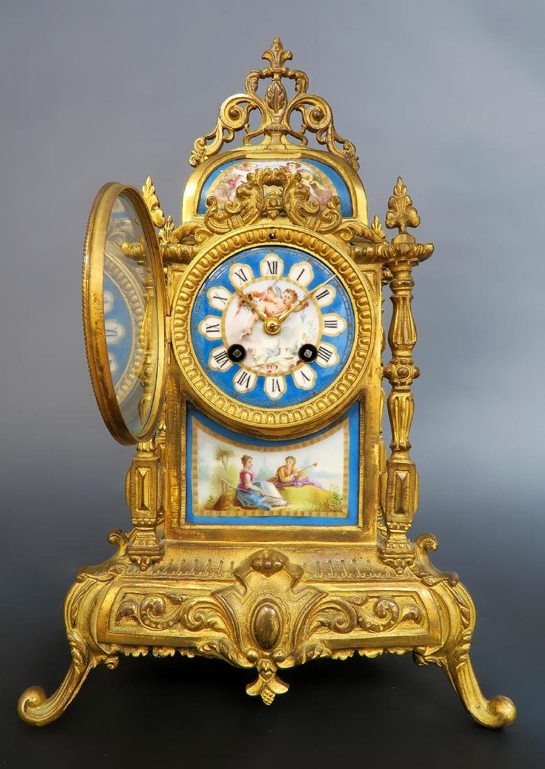 French Bronze & Sevres Porcelain Clock Set - 2