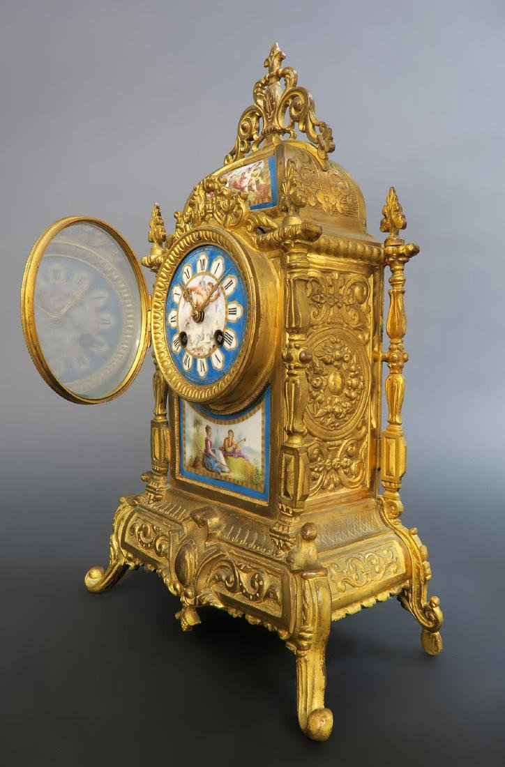 French Bronze & Sevres Porcelain Clock Set - 3