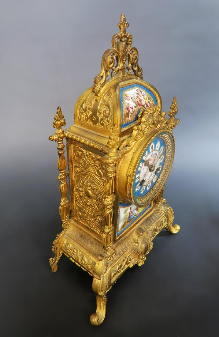 French Bronze & Sevres Porcelain Clock Set - 4