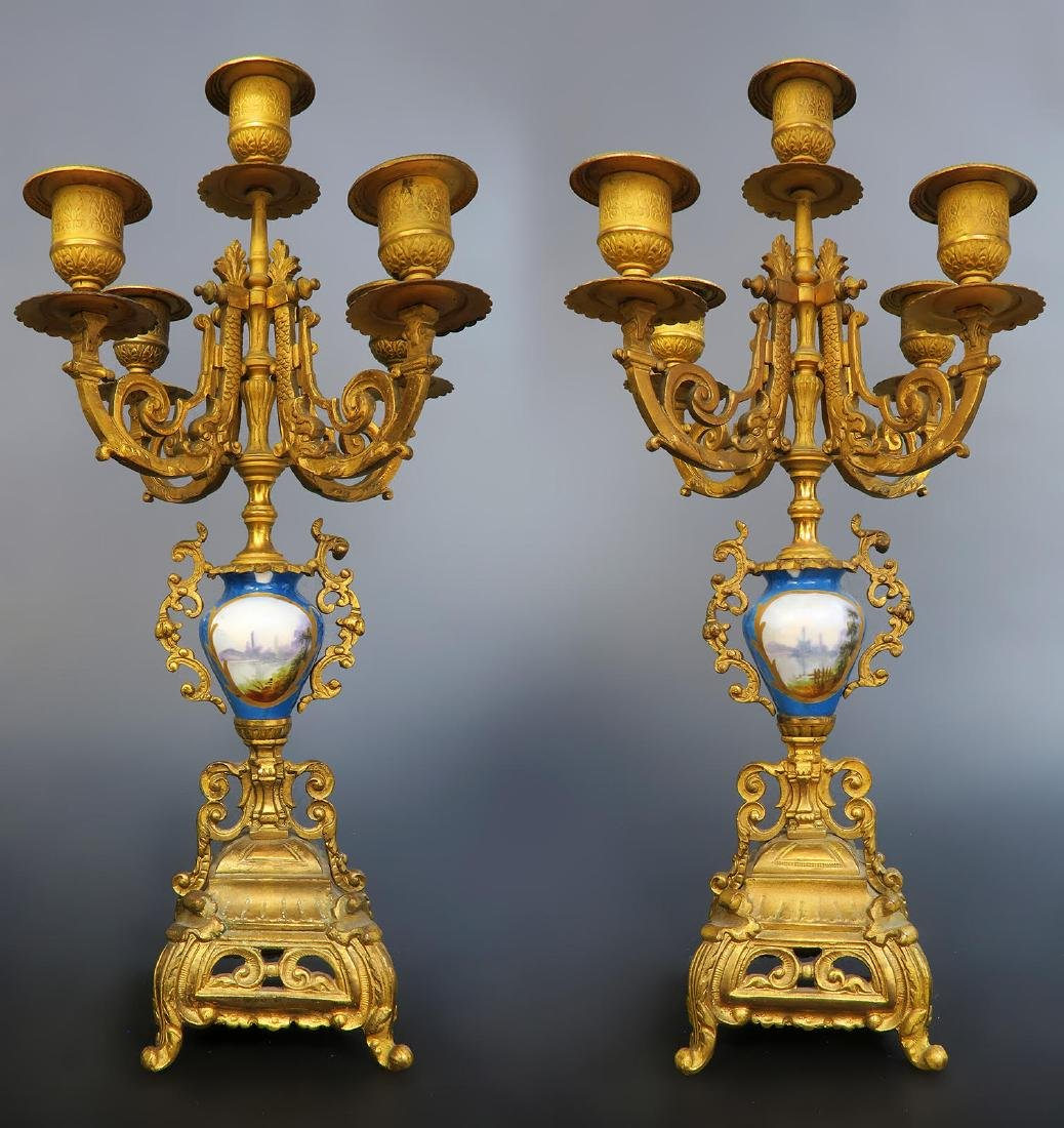 French Bronze & Sevres Porcelain Clock Set - 9