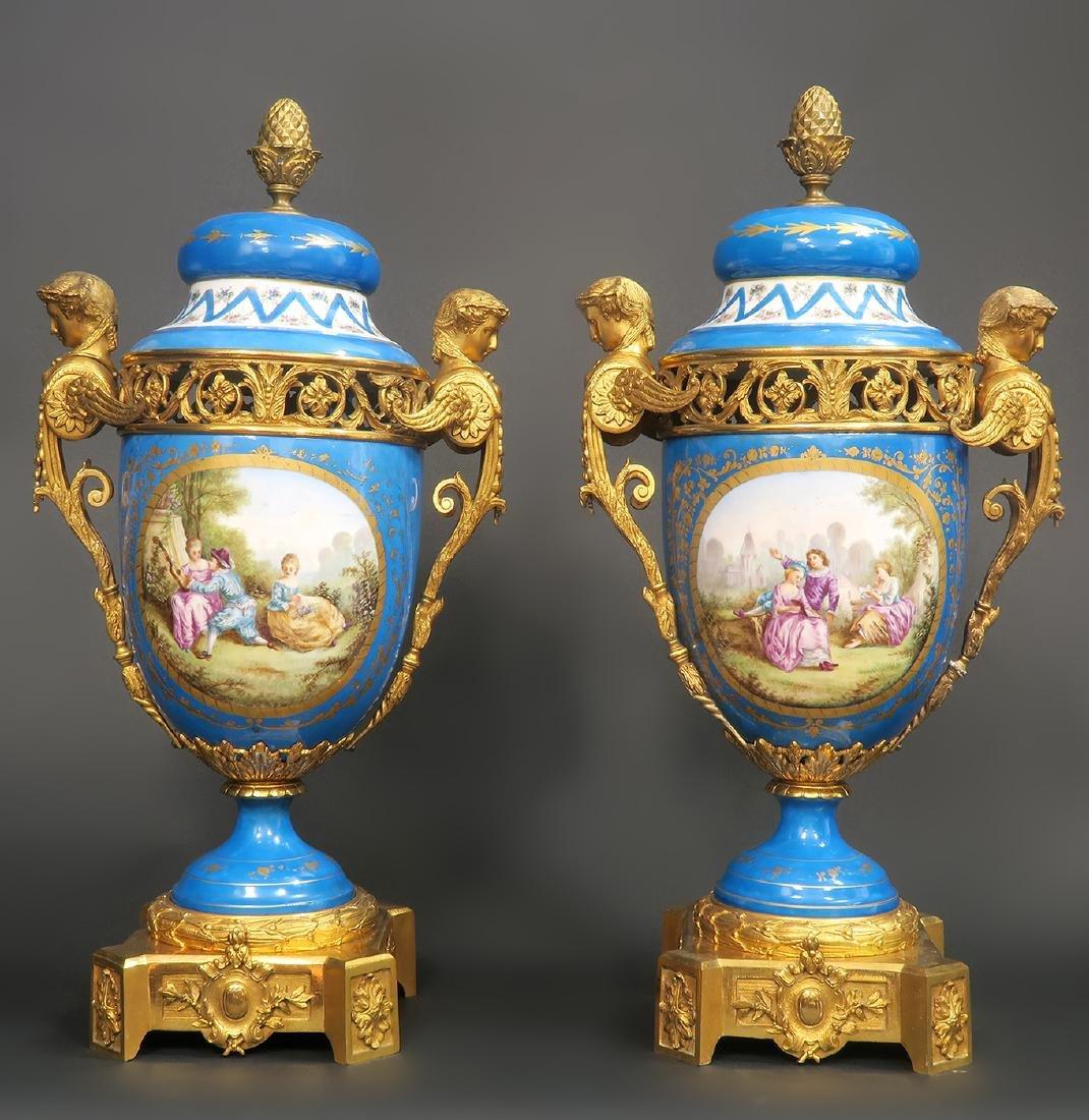 19th C. Large French Sevres Garniture Set - 10