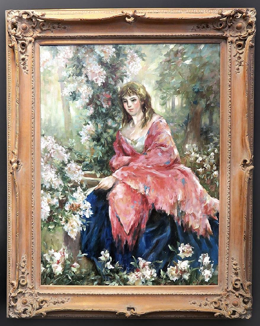 Large Portrait Lady In Garden Oil On Canvas Painting