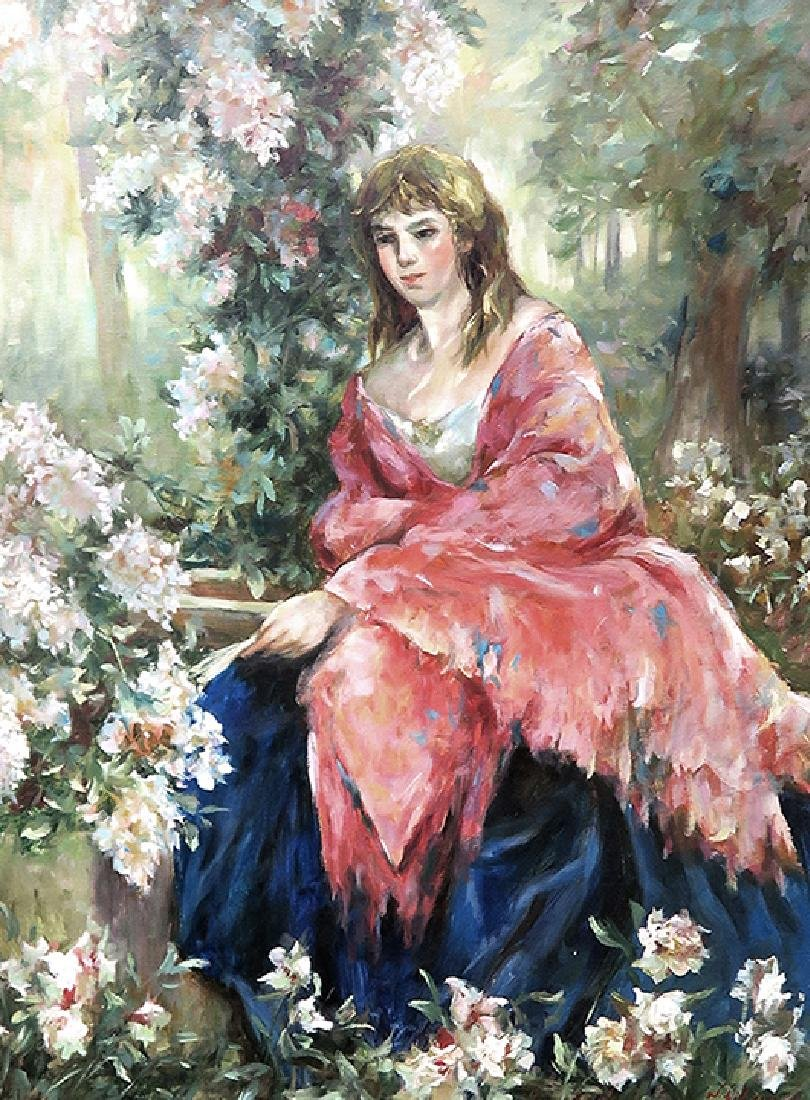 Large Portrait Lady In Garden Oil On Canvas Painting - 2