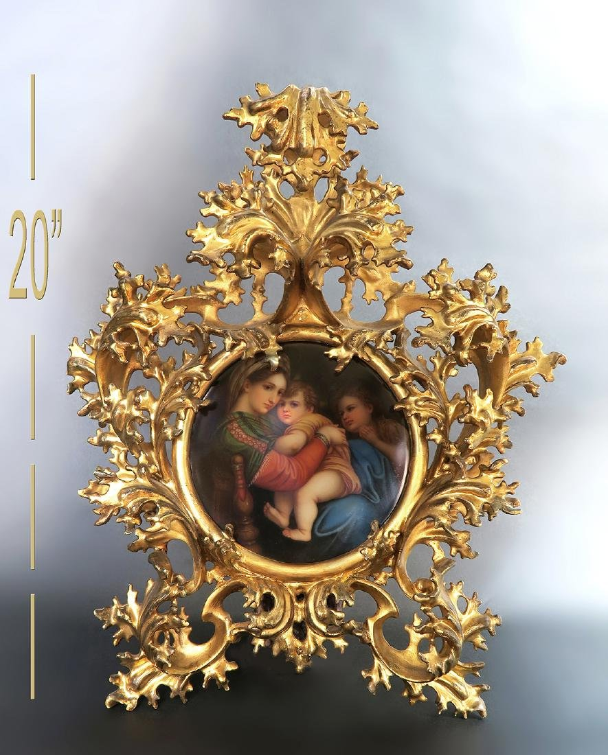 19th C. Wooden Rococo Frame With Berlin KPM Plaque