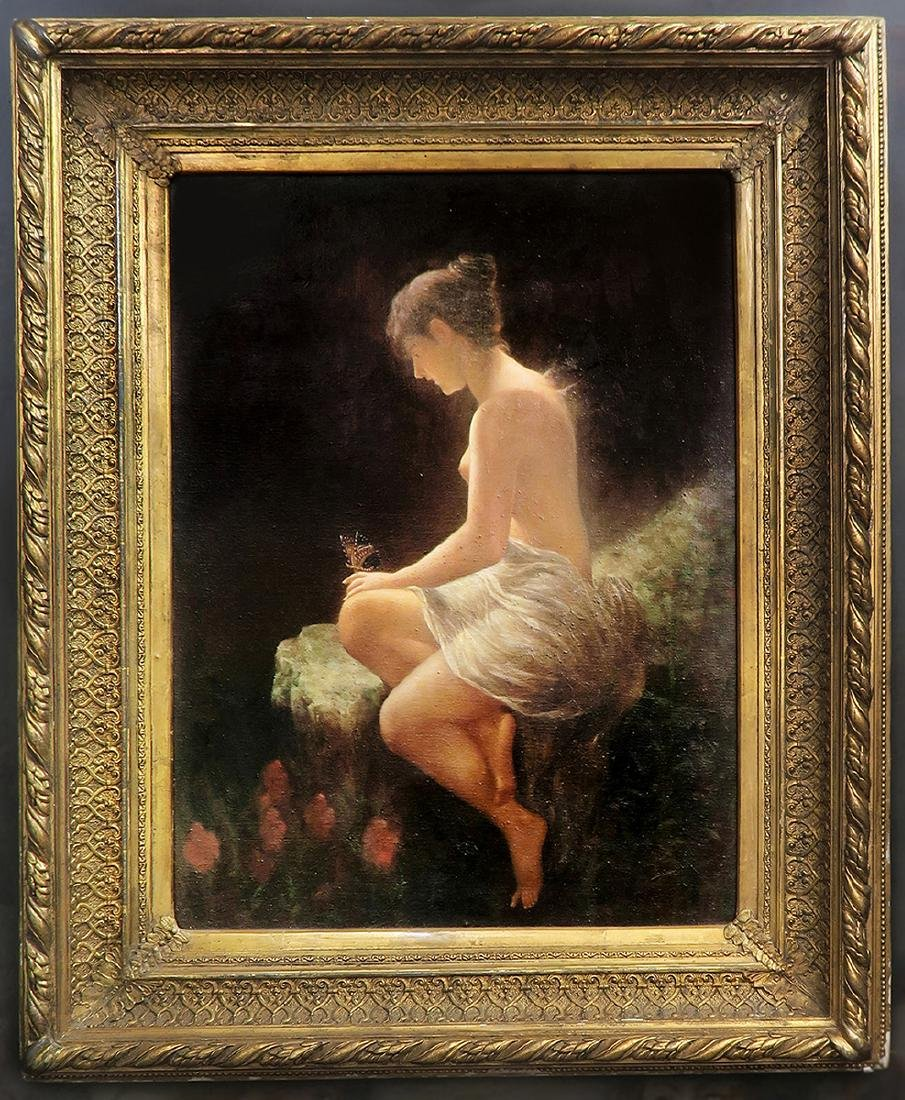 """Large 19th C. Oil on Canvas """"Pyche"""""""