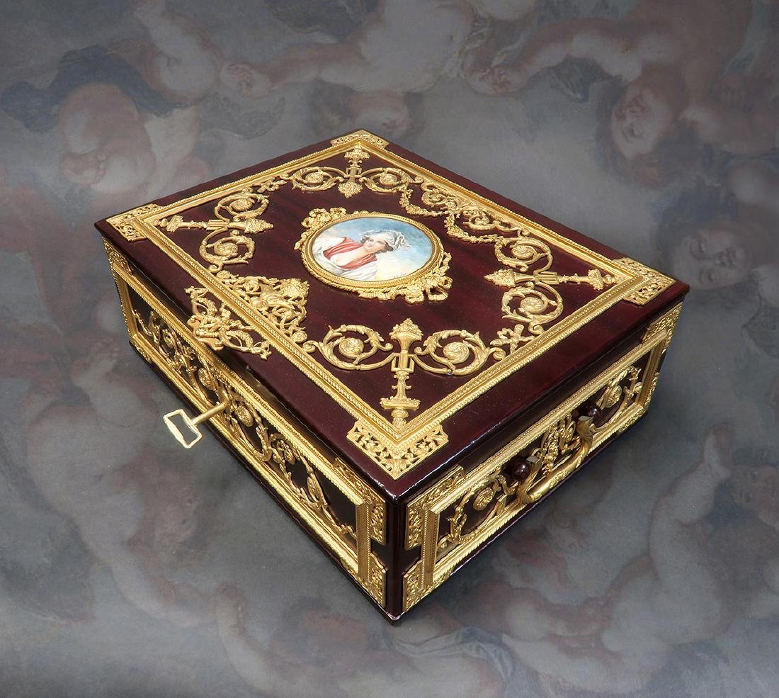 "Large Jewelry Box Signed ""Fichet"" a Paris. 19th C."
