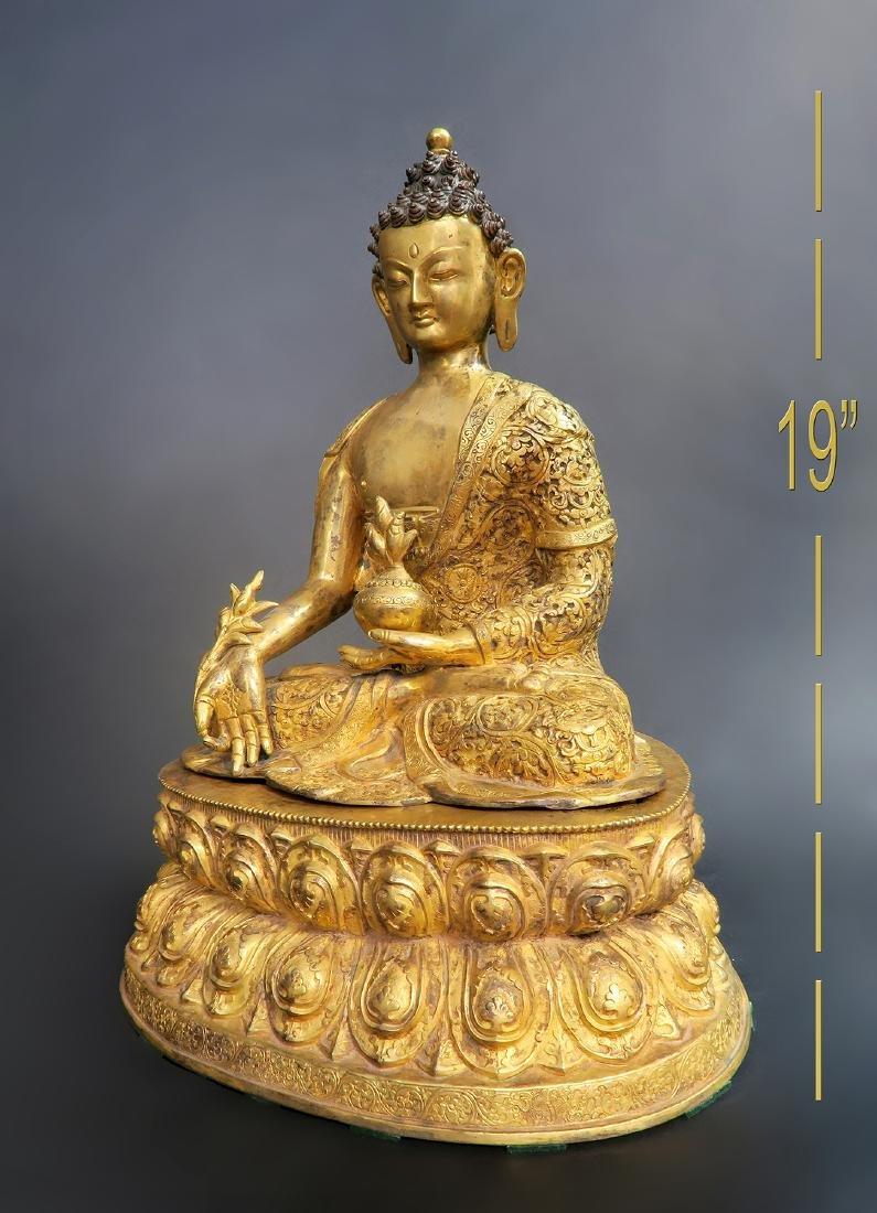 A Large 19th C. Gilt Bronze Buddha Sculpture